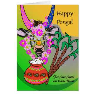Custom Front, Pongal for Aunt and Uncle, Cow, Rice Card