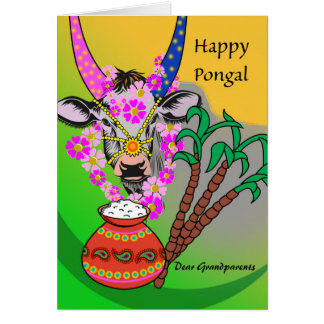 Custom Front, Pongal for Grandparents, Cow, Rice Card