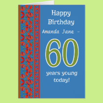 Custom Front Red Field Poppies 60th Birthday Card