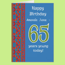 Custom Front Red Field Poppies 65th Birthday Card
