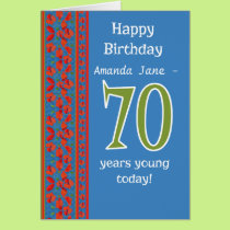 Custom Front Red Field Poppies 70th Birthday Card
