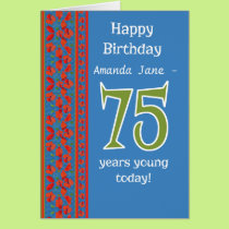 Custom Front Red Field Poppies 75th Birthday Card