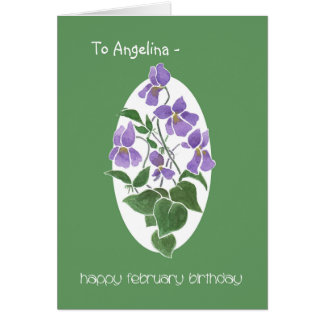 Custom Front Violets, February Birthday Card