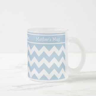 Custom Frosted Glass Mug, Blue and White Chevrons Frosted Glass Coffee Mug