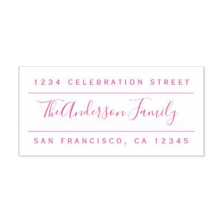 Custom Fuchsia Family Name | Modern Return Address Self-inking Stamp