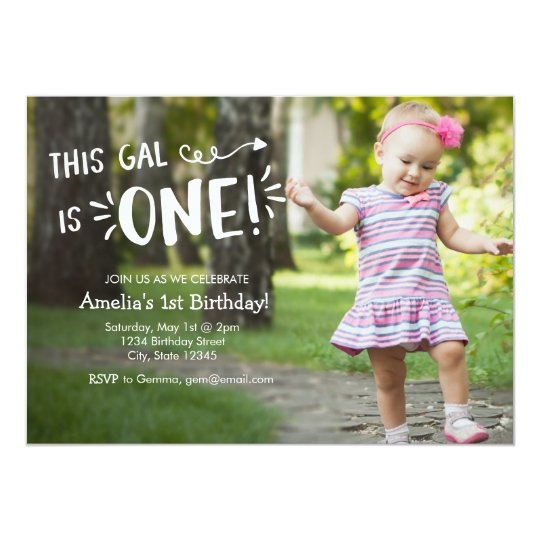 Custom Full Photo Girl First Birthday Invitation