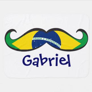 Custom Fun and Cute Brazilian Flag Mustache Receiving Blanket