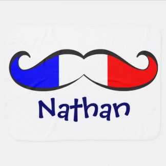 Custom Fun and Cute French Flag Mustache Stroller Blanket