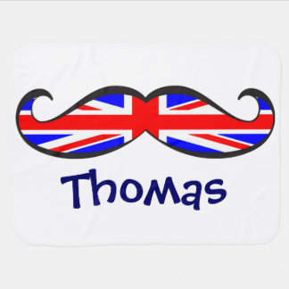 Custom Fun and Cute United Kingdom Flag Mustache Receiving Blanket