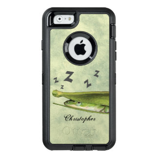 Custom Fun Cute Playful Snoozing Green Lizard OtterBox Defender iPhone Case