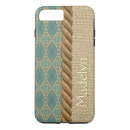 Custom Fun Ethnic Turquoise Brown Mosaic Pattern iPhone 8 Plus/7 Plus Case