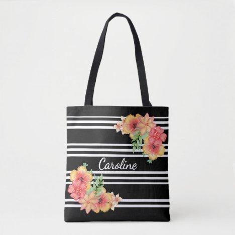 Custom Fun Floral Watercolor Cute Stripes Pattern Tote Bag