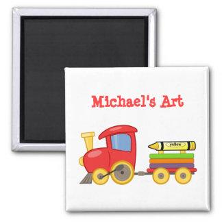 Custom Fun Red Choo Choo Train Engine Cute Art 2 Inch Square Magnet