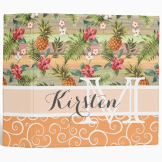 Custom Fun Tropical Pineapple Fruit Floral Pattern Binder