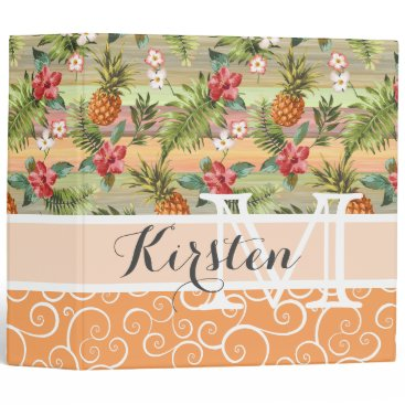Beach Themed Custom Fun Tropical Pineapple Fruit Floral Pattern Binder
