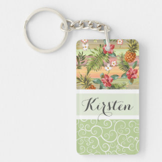 Custom Fun Tropical Pineapple Fruit Floral Pattern Keychain