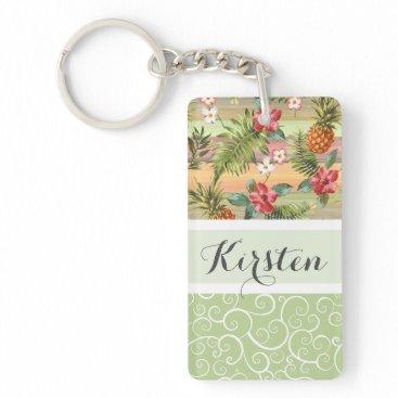 Beach Themed Custom Fun Tropical Pineapple Fruit Floral Pattern Keychain