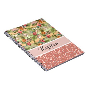 Beach Themed Custom Fun Tropical Pineapple Fruit Floral Pattern Notebook