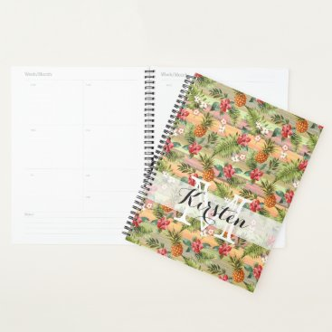 Hawaiian Themed Custom Fun Tropical Pineapple Fruit Floral Pattern Planner