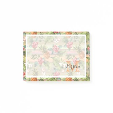 Beach Themed Custom Fun Tropical Pineapple Fruit Floral Pattern Post-it Notes
