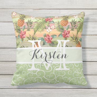 Beach Themed Custom Fun Tropical Pineapple Fruit Floral Pattern Throw Pillow