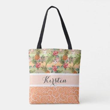 Beach Themed Custom Fun Tropical Pineapple Fruit Floral Pattern Tote Bag