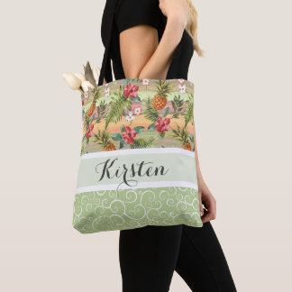 Custom Fun Tropical Pineapple Fruit Floral Pattern Tote Bag