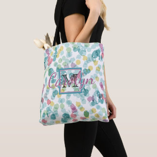 Custom Funky Happy Summer Polkadots Pattern Tote Bag