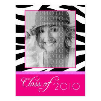 CUSTOM Funky Pink Zebra Graduation Announcement Postcard