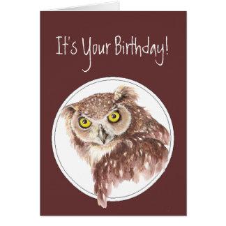 Custom Funny Birthday Owl with Attitude Bird Humor Greeting Cards