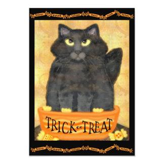 Custom Funny Black Cat Halloween Party Invitation