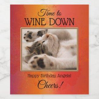 Custom Funny Cat Photo Birthday Wine Label