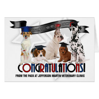 Custom Funny Dog Vet Tech Graduate Congratulations Card