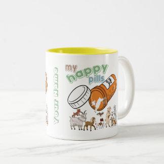 CUSTOM FUNNY GOAT | My Happy Pills GetYerGoat Two-Tone Coffee Mug