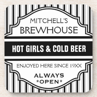Custom Funny Home Bar Brewhouse Sign Coasters