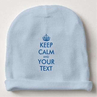 Custom funny keep calm blue baby hat for boys