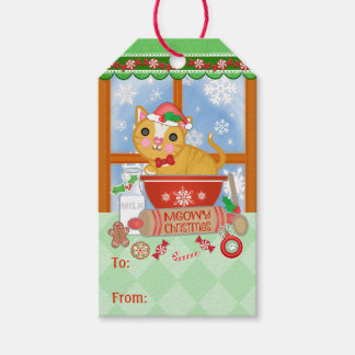 Custom Funny Merry Christmas Cat Baking Gift Tag