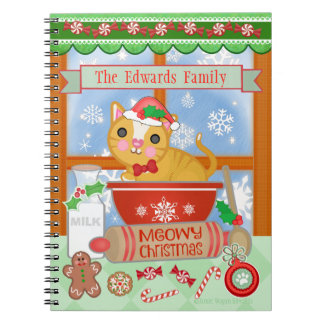 Custom Funny Merry Christmas Cat Baking Notebook
