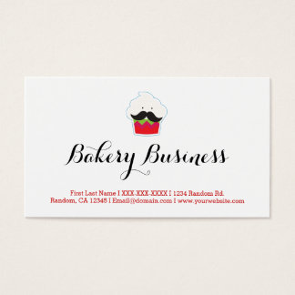 Custom funny mustache bakery business cards
