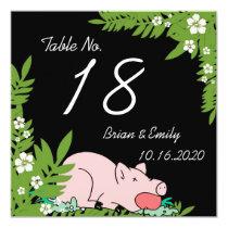 Custom funny pig dinner hawaii table wedding cards