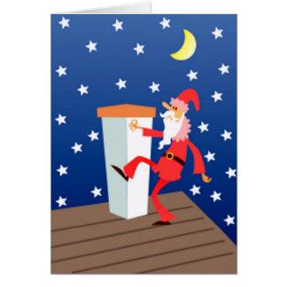 Custom Funny Santa On The Roof Blank Card