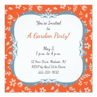 Custom Garden Party Invitation Orange Floral