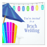"Custom Gay Beach Wedding Invitations 5.25"" Square Invitation Card"