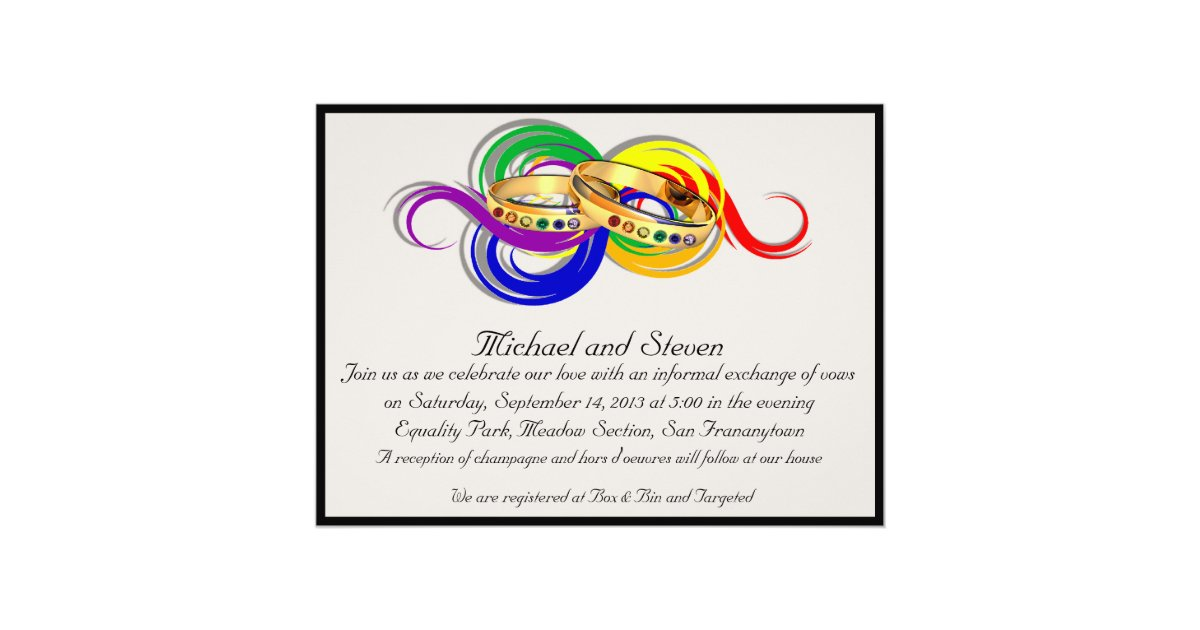 Gay Marriage Wedding Invitations: Custom Gay Wedding Invitations, Non-Formal Card