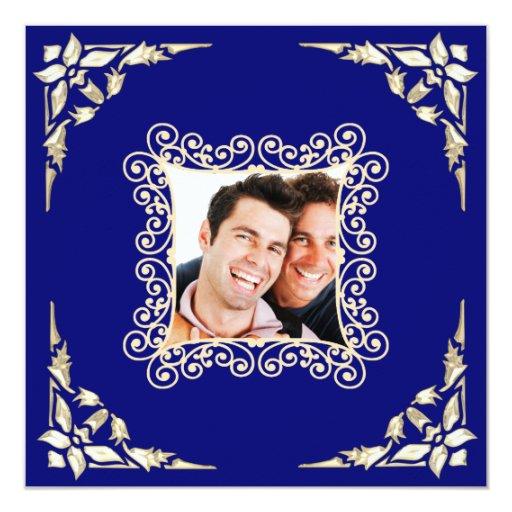 "Custom Gay Wedding Photo Invitation 5.25"" Square Invitation Card"