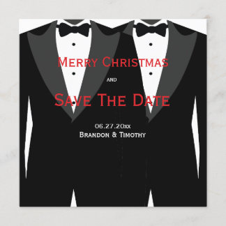 Custom Gay Wedding Save The Date Christmas Cards