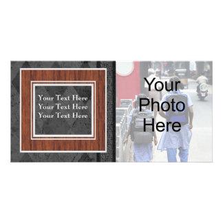 Custom General or Family Black Argyle Photo Card