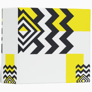 Custom Geometric Art Yellow Black Binder