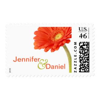 Custom Gerbera Daisy Wedding Postage Stamp