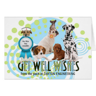 Custom Get Well Pack of Dogs Greeting Card